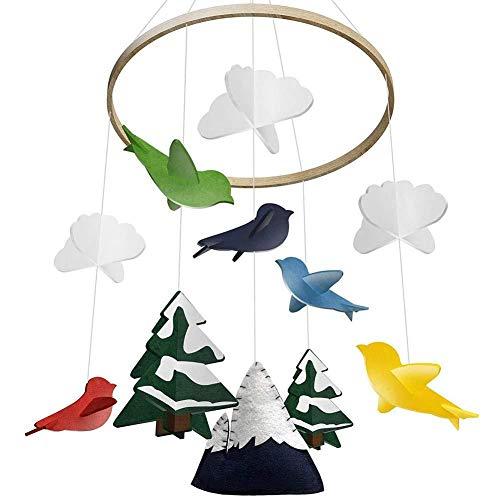 rethyrel Crib Mobile-Krippe Mobile Mit Filz Bunte Taube Wolkenbaum Wind Glockenspiel Baby Bett Dekoration