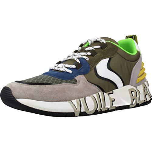 VOILE BLANCHE CLUB12 Sneaker Uomo comode di qualità in Pelle, Tessuto, Verde e Grigio (Numeric_40)