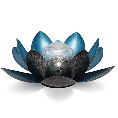 Navaris LED Solar Lotus Laterne - kaltweiß wiederaufladbar - Lotusblüte Solarlampe mit tollem Licht durch Bruchglasoptik - Garten Deko Solarleuchte