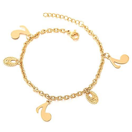 COOLSTEELANDBEYOND Acero Inoxidable Color Oro Cadena Enlace Tobillera para Mujer con Corchea Nota Música Charms y Tatuaje Oval