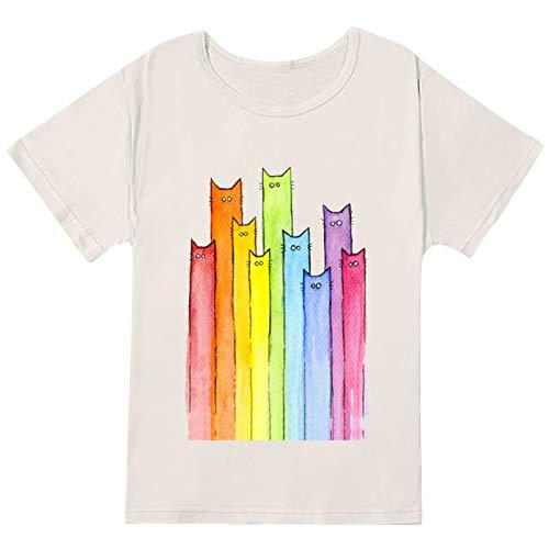 YANFANG Camiseta Holgada Mujer Manga Corta, Camisetas Estampadas con Cuello Redondo y Tallas Grandes para Mujer, Camisetas con gráfico de Manga Corta con Estampado de Gato, L,White