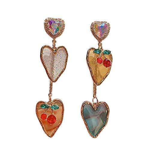 Fransande Pendientes de color caramelo con cristal brillante - Conjunto asimétrico largos pendientes para mujer