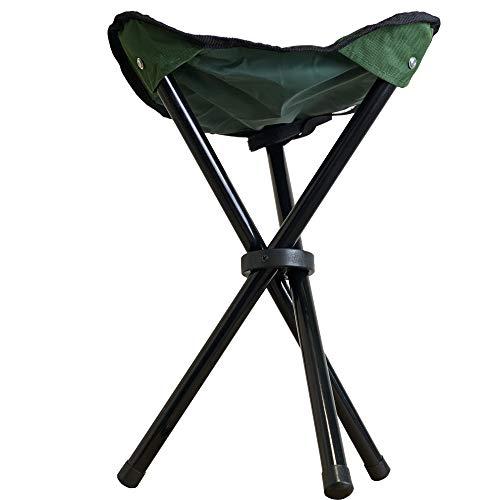 Sgabello da campeggio, portatile, ultra resistente, portata fino a 120 Kg, adatto come seggiolino da caccia, utilizzabile anche come sedia pescatore, disponibile in 3 colori. (Green)