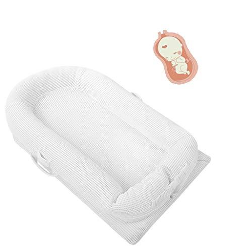 WFWT Portatile del Bambino Lounger e Baby Nest Perfetto per Co Bambino Addormentato della Culla, in Lattice Naturale 3D Mesh Traspirante, lettini per Camera da Letto/Viaggi età applicabile 0-36 Mesi