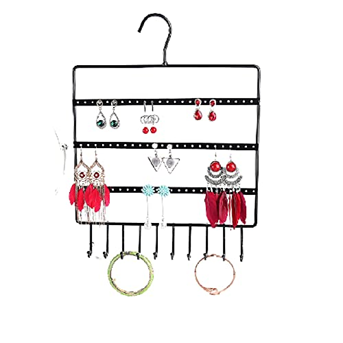 Hanging Jewellery Organiser Display Stand Jewellery Holder Rack Bracelets Hook Storage Bag Closet Storage Earring Holder for Necklace Bracelet Ring Display Pouch , Black 14.1710.62in