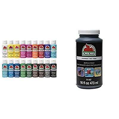 Apple Barrel PROMOABI Matte Finish Acrylic Craft Paint Set Designed for Beginners and Artists, 18 Count & Barrel Acrylic Paint in Assorted Colors (16 Ounce), 21148 Black
