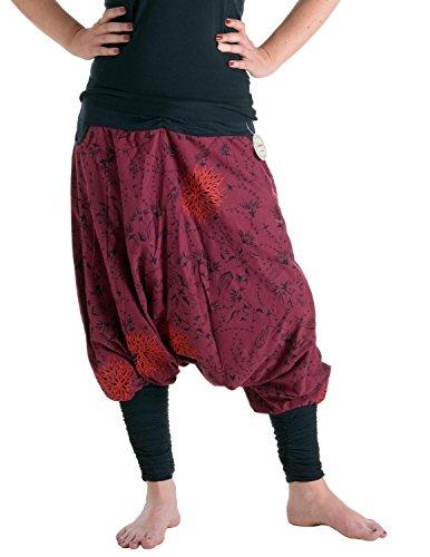 Vishes - Alternative Bekleidung - Bestickte Baumwoll Blumen Haremshose mit tiefem Schritt und Taschen dunkelrot 36