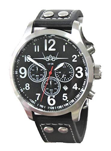 IMC Fliegeruhr SU-35 Suchoi Männer Herren Chronograph Armbanduhr Uhr Lederarmband Gehäuse aus Edelstahl