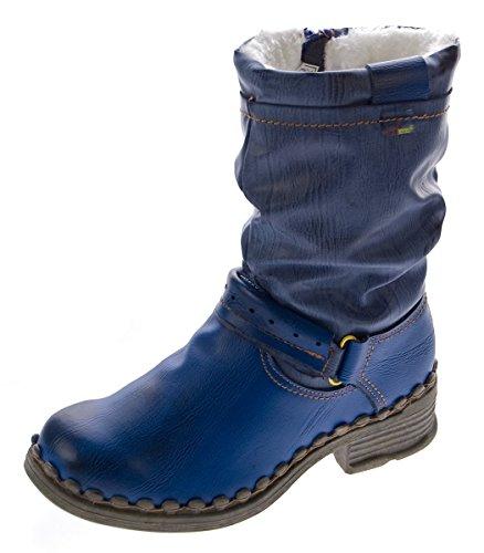 TMA Damen Winter Stiefel Echt Leder Gefüttert Stiefeletten 5005 Schuhe Blau Boots Gr. 40