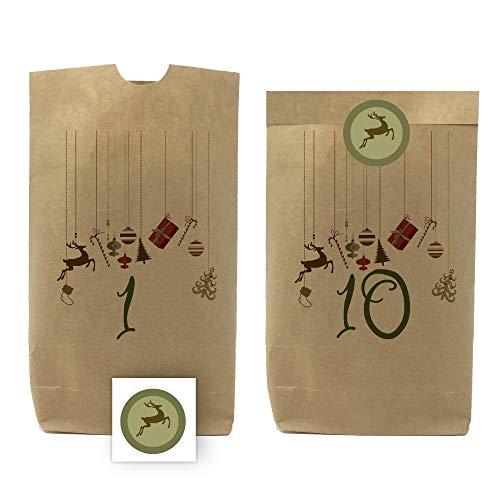 Moderner Adventskalender zum Befüllen mit 24 bedruckten Kraftpapier Tüten/Vintage Modern Weihnachten/mit Aufklebern/Weihnachtskalender