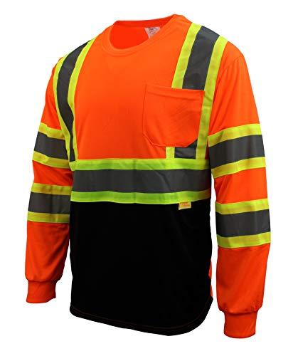 New York Hi-Viz Workwear RK Safety NY BFL-T5711 High-Visibility Class 3 T Shirt with Moisture Wicking Mesh Birdseye and X Pattern, Black Bottom (Neon Orange, Small)