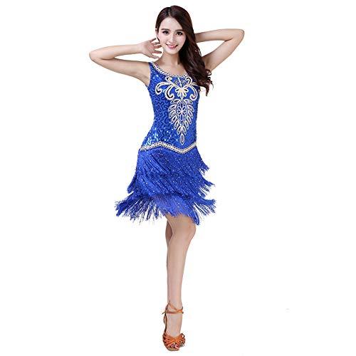Uiophjkl Latin Dancewear Vrouwen Danskleding Bloemen Pailletten Ballroom Samba Tango Latijnse Dans Jurk Competitie Kostuums Gatsby Sway Cocktail Fringe Jurk (Kleur: Blauw, Maat : Een maat)