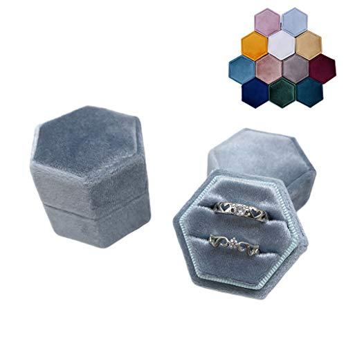 Koobysix Caja de anillo doble de terciopelo hexagonal para ceremonia de boda con tapa desmontable