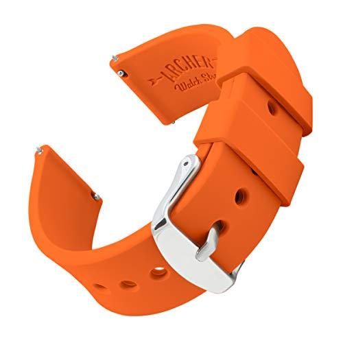 Archer Watch Straps - Uhrenarmbänder aus Silikon mit Schnellverschluss - Orange, 20mm