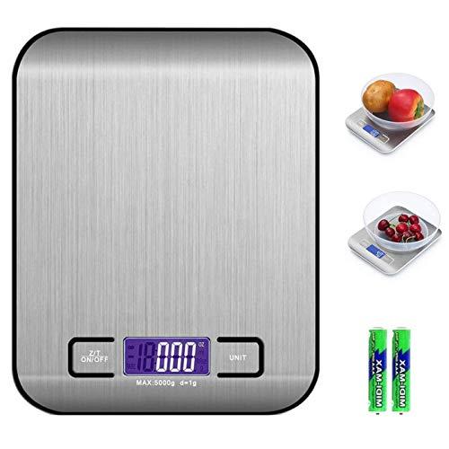 Digitale Elektronische Küchenlebensmittelwaage, Küchenwaage mit LCD Display-wunderbare Präzision auf bis zu 1g(5kg Maximalgewicht)