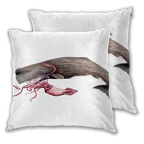 MrRui 2 stks Epische strijd tussen de sperma walvis en de reus inktvis lichtgewicht katoen decoratieve kussensloop voor bank (55x55cm)