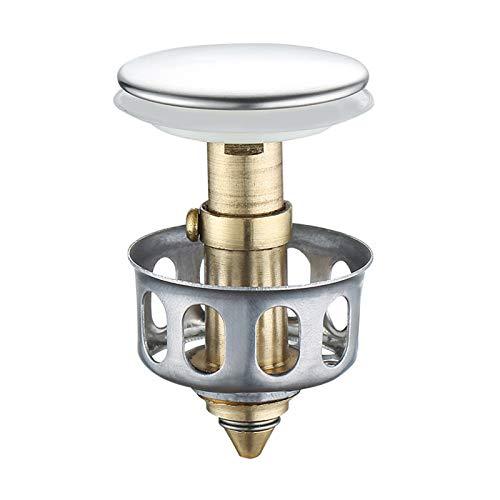jeerbly - Filtro de drenaje universal para lavabo de cocina (acero inoxidable, tipo empuje, tapón de drenaje, tapón de drenaje