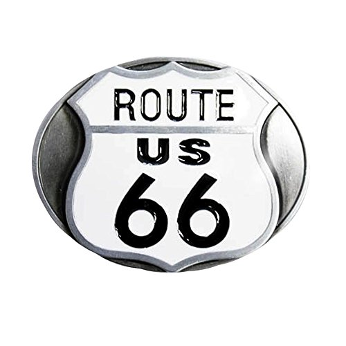 eeddoo® Gürtelschnalle - Route 66 (Buckle für Wechselgürtel für Damen und Herren | Belt Frauen Männer Oldschool Rockabilly Metall Gothic Wave Rock Biker Western Trucker Casino Skull)