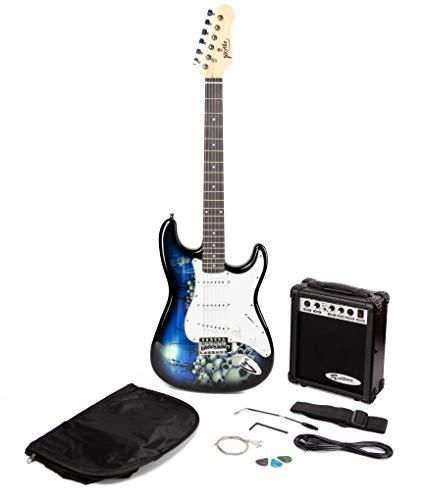 Jaxville Reaper st Stil E-Gitarre Pack mit Gitarrenverstärker Gitarrentasche Gitarrensaiten Gitarrengurt Gitarrenkabel und Gitarre Plektren