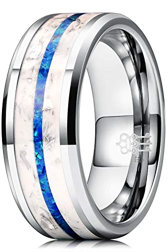 THREE KEYS JEWELRY Mens Luminous Glowing Tungsten Carbide Unisex Polished Flat Silver Blue Color Stones Wedding Bands Rings for Men 8mm Comfort Fit Vintage Size 12.5