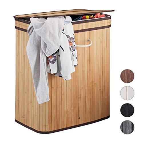 Relaxdays Wasmand met deksel, hoekig, 2 vakken, gescheiden waszak, geventileerd, 72 liter, bamboe wasmand, natuur