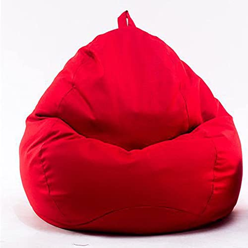 Soft Bean Bags Chairs Comfy For Kids, Teens, Adults - Fine Linenfabric Bag Chair - Dorm Room-For Reading Game Meditating,Red,Large