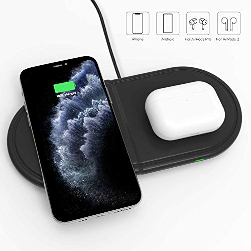 Kdely 2 en 1 Cargador inalámbrico Rápido 10W Qi Wireless Charger para Samsung Galaxy Buds/S20 Ultra/S20/S20+/S10/S10e/S9/S8/S7/Note 10+/9/8, iPhone SE2/11 Pro MAX/XS/XS MAX/XR/X/8 Plus/Airpods 2/Pro