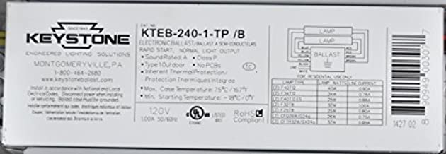 Keystone Electronic Universal Ballast Model: KTEB-240-1-TP /B - 1 OR 2 LAMP - 120V - 1.00A 50/60 Hz - UL LISTED - RAPID START (1-PACK)