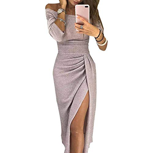 CHIYEEE Vestito Donna con Senza Spalline Abito Donne Vestito da Manica a 3/4 Abito da Sera Albicocca XXXL