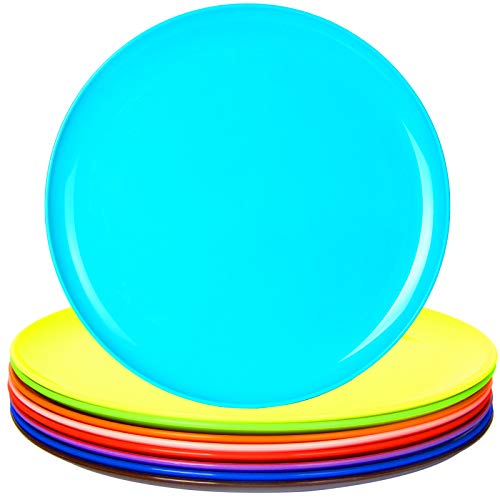 Youngever 10 Inch Plastic Plates, Large Plates, Dinner Plates, Microwave Safe, Dishwasher Safe, Set of 9 in 9 Assorted Colors