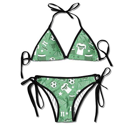 huatongxin Frauen Bademode Fußball Mutter Lustige Boxing Bikini Set Badeanzüge 2 Stück Bikinis