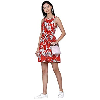 Abiti Bella Women's Western Red Mini Dress with Pocket & Belt