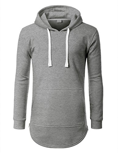 URBANCREWS Mens Hipster Hip Hop Classic Pullover Hooded Jacket Hgray XLarge
