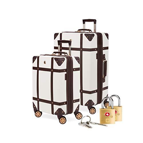 SWISSGEAR 7739 Trunk, Hardside Spinner Luggage (White, 2-Piece Set and Lock Bundle)
