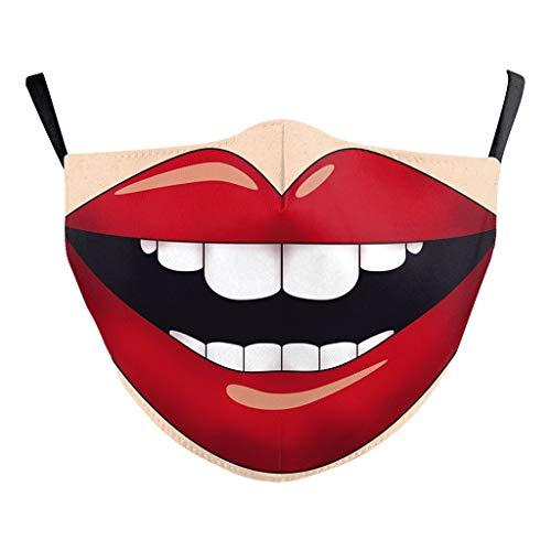 riou Mundschutz mit Motiv 3D Lustig Waschbar Wiederverwendbar Baumwolle Atmungsaktive Staubdicht Mund und Nasenschutz Halstuch Multifunktionstuch für Damen Herren