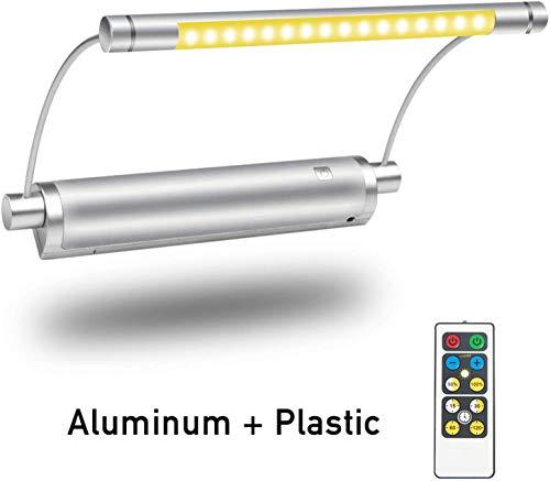HONWELL Bilderleuchte LED Batteriebetrieben Wandleuchte mit Fernbedienung Uplight, Drehbare Lichtköpfe mit Timer-Dimmer, Kunstlichter für Gemälderahmen Wandspiegel Artwork - Silber