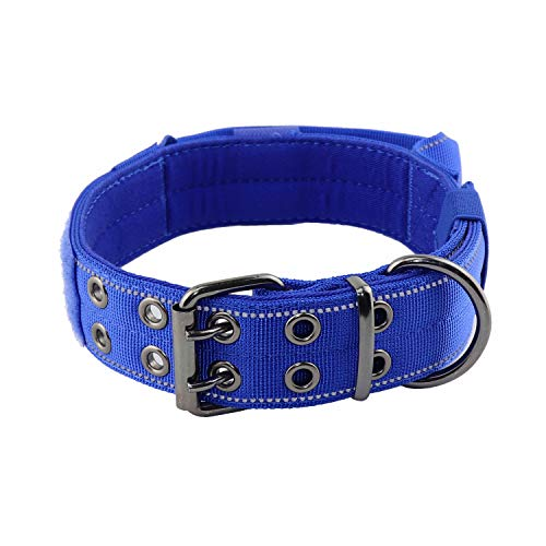 """Yunleparks Reflective Dog Collar Heavy Duty Dog Collar with Control Handle and Metal Buckle for Dog Training,1.5"""" Width (L, Blue)"""