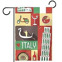 ガーデンサイン庭の装飾屋外バナー垂直旗ビンテージイタリアの文化記号 オールシーズンダブルレイヤー