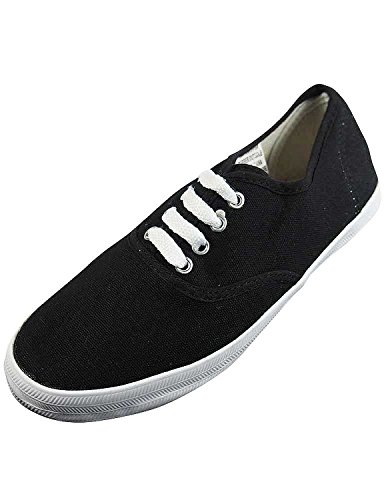 Easy USA Womens Lace Up Canvas Plimsol Sneakers Shoes, Blackandwhite, 7