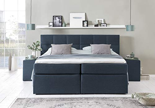 Furniture for Friends Möbelfreude® Boxspringbett Bea Midnight Blue 220x220 cm H3 inkl. Visco-Topper, 7-Zonen Taschenfederkern-Matratze