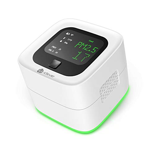 iClever Air Quality Monitor, Wireless Chargeable Air Quality Tester for PM2.5/PM10/PM1.0/Temperature/Humidity, Indoor Outdoor Air Detector for Home/Office/Car and Various Occasion (White)