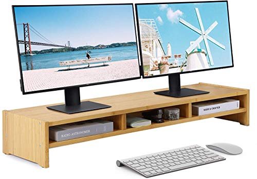 MaxGear Large Dual Bamboo Monitor Stand Riser, 2 Tiers Solid Wood Shelf for Desk, Support The Heaviest Monitors, Printers, Laptops, TV, Shelf Organizer for Office