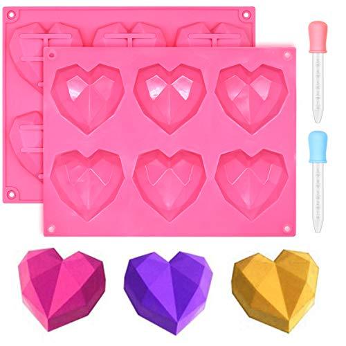 Ledeak 2 Piezas Molde de Silicona de Corazón de Diamante 3D, 6 Cavidades Molde de Silicona para Magdalenas Bombones Tartas Chocolate Postre Cubitos de Hielo Jabón Casero