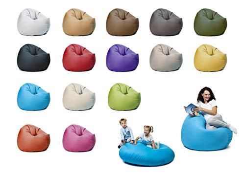 sunnypillow XXL Sitzsack mit Styropor Füllung 125 cm Durchmesser 2-in-1 Funktionen zum Sitzen und Liegen Outdoor & Indoor für Kinder & Erwachsene viele Farben und Größen zur Auswahl Blau