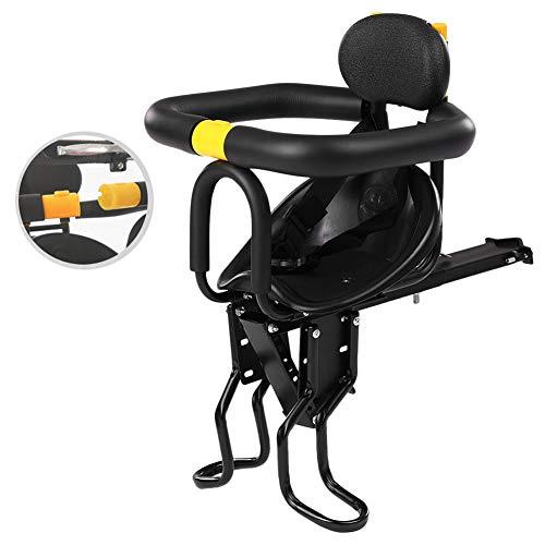 C&JQ Vorn Fahrrad Sicherheits Kindersitz,Abnehmbar Kindersattel Fahrrad Vorne Stange Kindersitz mit Pedal und Zaun,Leicht Anzubringen Höherer Sicherheitsfaktor