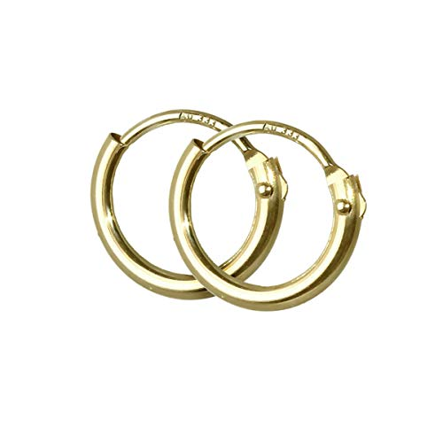 NKlaus PAAR mini Kinder Creolen ECHT GOLD 333er Ohrring Ohrschmuck Ohrhänger 9 mm 3752