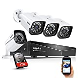 SANNCE 1080P POE Security Camera System with 1TB Hard Drive,4 Pcs 1920TVL Outdoor/Indoor CCTV Surveillance Cameras, Easy Installation, Real Plug & Play XPOE Network Home Video Surveillance System