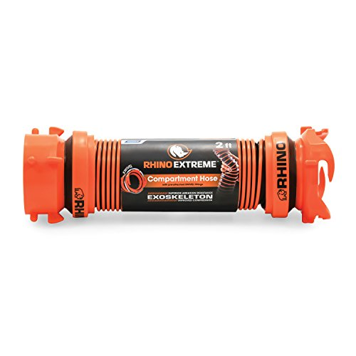 Camco RhinoEXTREME 20ft RV Sewer Hose Kit, Includes Swivel Fitting and Translucent Elbow with 4-In-1 Dump Station Fitting, Crush Resistant, Storage Caps Included - 39867