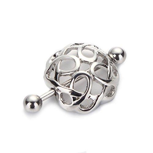 Fenical Frauen Nipple Shield Hohl Silber Nippel Bar Ring Piercing Chirurgenstahl Körperschmuck