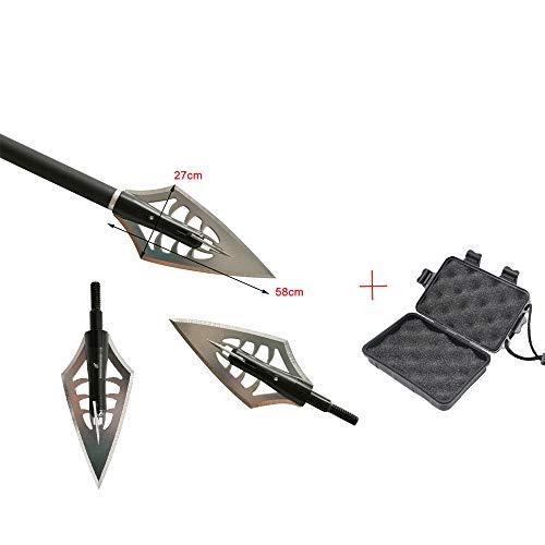 ZSHJGJR 6pcs Tiro con Arco Puntas de Flecha Caza de 160 Grano Flechas Broadheads Cuchillas Tiro con Arco Flechas Cabezas para Ballesta y Arco Compuesto
